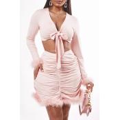 Lovely Trendy Fold Design Pink Two-piece Skirt Set