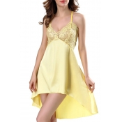 Lovely Sexy Lace Patchwork Yellow Babydolls