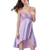 Lovely Sexy Lace Patchwork Light Purple Babydolls