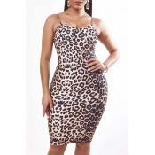 Lovely Sexy Leopard Print Knee Length Dress