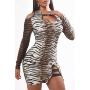Lovely Sexy V Neck Tiger Stripes Mini Dress