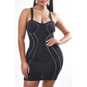 Lovely Sexy Patchwork Black Mini Dress