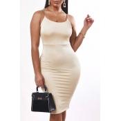 Lovely Sexy Basic Skinny Khaki Knee Length Dress