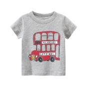 Lovely Casual Print Grey Boy T-shirt