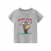 Lovely Leisure Cartoon Print Grey Boy T-shirt