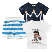 Lovely Casual Striped Print Blue Boy Two-piece Sho