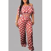 Lovely Sweet Dot Print Pink Plus Size Two-piece Pants Set