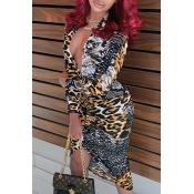 Lovely Trendy Leopard Print Knee Length Dress