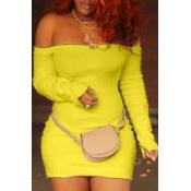 Lovely Trendy Dew Shoulder Skinny Yellow Mini Dres