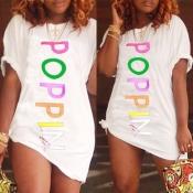 Lovely Casual O Neck Letter White Mini T-shirt Dre