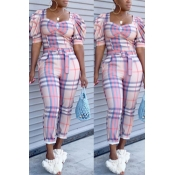 Lovely Casual Grid Print Pink Two-piece Pants Set