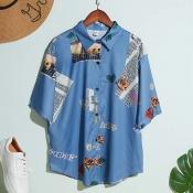Lovely Stylish Turndown Collar Print Blue Shirt