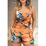 Lovely Trendy V Neck Print Orange One-piece Romper