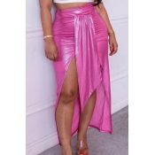 Lovely Trendy Asymmetrical Rose Red Skirt