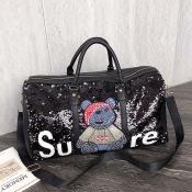 Lovely Casual Cartoon Black Messenger Bag