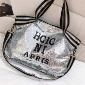 Lovely Casual Letter Silver Messenger Bag