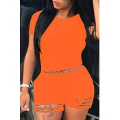 Lovely Trendy Hollow-out Orange Plus Size Two-piec