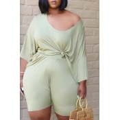 Lovely Leisure Fold Design Green Plus Size Two-pie