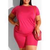 Lovely Leisure Basic Rose Red Plus Size Two-piece Shorts Set