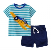 Lovely Casual Striped Print Royalblue Boy Two-piec