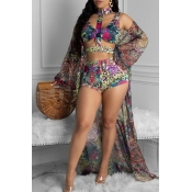Lovely Print Multicolor Two-piece Swimsuit(With Co
