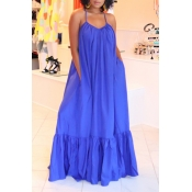 Lovely Casual Loose Blue Maxi Dress
