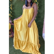 Lovely Leisure Loose Yellow Maxi Dress