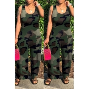 Lovely Leisure Camo Print Army Green One-piece Jum