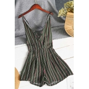 Lovely Trendy Striped Blackish Green One-piece Rom