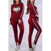 Lovely Sportswear Patchwork Wine Red Loungewear