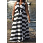 Lovely Casual Striped White Maxi Plus Size Dress
