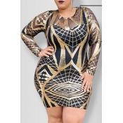 Lovely Casual Print Black Mini Plus Size Dress