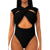 Lovely Cut-Out Black One-piece Swimsuit