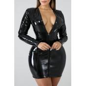 Lovely Sexy Zipper Design Black Mini Plus Size Dre