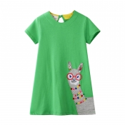 Lovely Casual Cartoon Green Girl Knee Length Dress