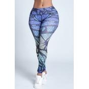 Lovely Trendy Print Blue Leggings