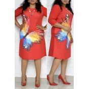 Lovely Casual Butterfly Print Red Knee Length Plus