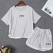 Lovely Casual Print Grey Sleepwear