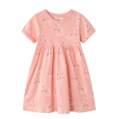 Lovely Sweet Cartoon Print Pink Girl Knee Length D