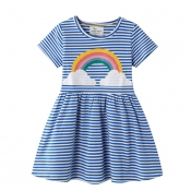 Lovely Casual Striped Print Blue Girl Knee Length