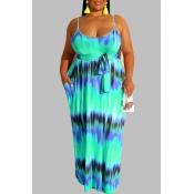 Lovely Casual Tie-dye Blue Maxi Plus Size Dress