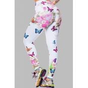 Lovely Sportswear Butterfly Print White Plus Size