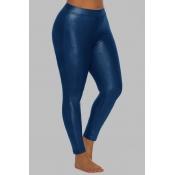 Lovely Sportswear Skinny Blue Plus Size Pants