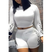 Lovely Casual Print White Plus Size Two-piece Shor