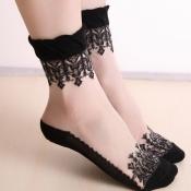 Lovely Sweet Patchwork Black Socks