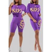 Lovely Sportswear Letter Print Purple Two-piece Sh