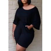 Lovely Leisure Fold Design Black Plus Size Two-piece Shorts Set