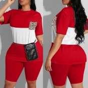 Lovely Casual Patchwork Red Plus Size Two-piece Shorts Set