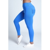 Lovely Sportswear Pocket Patched Blue Leggings