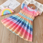 Lovely Sweet Striped Pink Girl Knee Length Dress